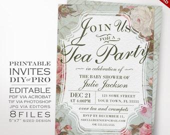 Baby Shower Invitation Template - Vintage Rose Shower Invitation Printable DIY Country Baby Gender Reveal Tea Invitation Editable Invite