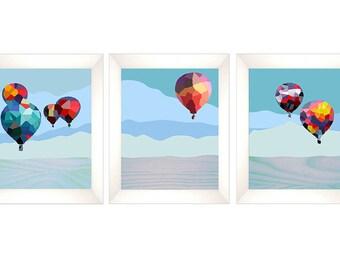 Landscape Art Print, Abstract Landscape Print, Mid Century Modern, Modern Abstract Art, Landscape Wall Art,Hot air Balloon