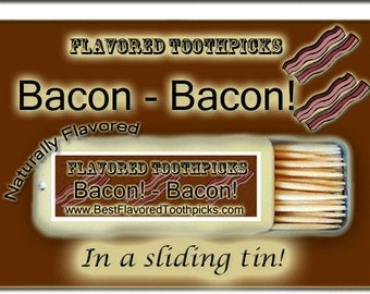 Bacon Flavored Toothpicks - gift for women, gift idea, bridesmaid gift, mothers day gift, gift for her, handmade, gift ideas, under 10, girl