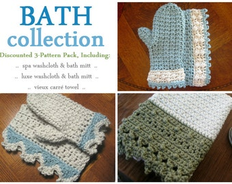 3-pack: crochet bath patterns - washcloths, bath mitts, and towels // Crochet pattern collection // Beginner crochet patterns with tutorials