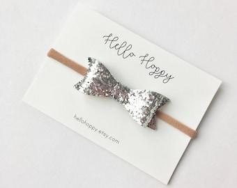 Silver glitter bow headband / silver bow headband, silver hair bow, silver glitter bow, Christmas hair bow, Christmas headband, glitter bow
