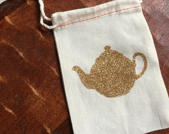 Gold glitter teapot cotton muslin drawstring favor bags - wedding, bridal shower, baby shower, birthday loot bag, tea party, love is brewing