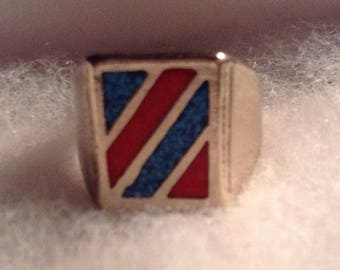 Native American Silver Ring with Inlay of Turquoise and Coral, Size 8.25