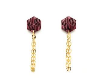 Hexagon gold drop earrings Gold purple earrings, Post earrings for women, Gold chain earrings, Engraved jewelry Wooden earrings Wood jewelry