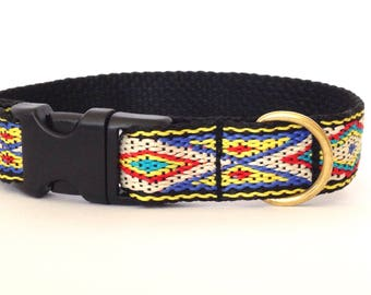 Small dog collar: woven tan, yellow, blue, black and red with Native American pattern