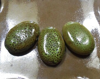 Speckled Sage - Ceramic Beads - Flat Ovals Top Drilled - 20mm x 30mm - set of three