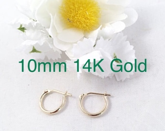 14k Solid Yellow Gold 10mm Snap Bar Hoop Earrings, Tiny Yellow 14 k Gold Mini Hoops, Snap Bar 14K Gold Hoops, 14k Solid Yellow Gold Hoops