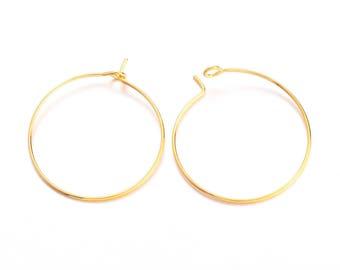 10 rings 25mm brass hoop earrings