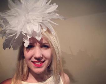 White Fascinator- White Feather Headband- White Headpiece- Diner en Blanc- Derby- Wedding- Ascot -Mad Hatter- All White Party