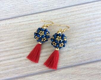 Beaded Ball Earrings, Tassel Jewelry, Anniversary Gift for Women, Statement Earrings, Boho Earlobe, Hand Beaded Jewelry, Mother's Day Gift