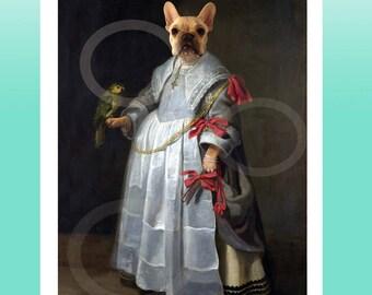 Cream Fawn French Bulldog Girl Giclee Print 8.5x 11 Whimsical Dog Art, Anthropomorphic Animal Wearing clothes- Digital Painting Artwork Gift