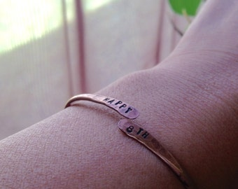 Rustic Custom Bronze Cuff Bracelet 8th & 19th Anniversary Gift Meaningful Gift Bronze Jewelry Message Jewelry PERSONALIZED