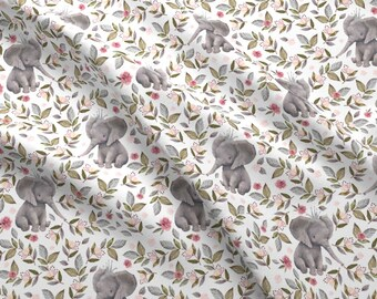 """Baby Elephant Fabric - 8"""" Baby Elephant With Crown Floral By Shopcabin - Baby Girl Animal Nursery Cotton Fabric by the Yard with Spoonflower"""