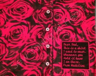 Shirt Pillow, Shirt Memory Pillow, Keepsake Pillow, COVER ONLY