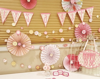 Baby Shower Decor Set - Complete Party Set for 36