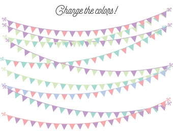 Bunting Clipart - Photoshop Overlay Clipart - Banner Clipart - Pennant Clipart - Clip Art - Party - PNG - Instant Download