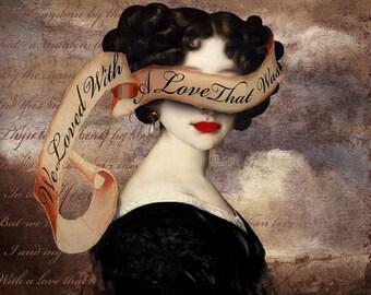 Annabel Lee Edgar Allen Poe Druck digitale Kunst Surreal Wohnkultur Gedicht Poesie Literatur Gothic Halloween Portrait