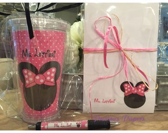 Personalized  Minnie Mouse notepad and tumbler set Teacher notepads teacher tumblers Teacher Gifts