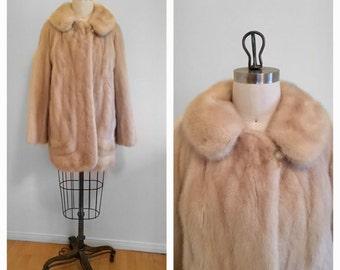 Vintage Natural Beige Blonde Tourmaline Mink Stroller Fur Coat Jacket Bridal Coat Winter Wedding Size Medium Excellent Condition