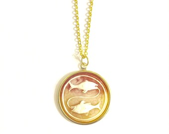 Pisces  Astrology Necklace, Astrology Necklace, Vintage Astrology Cameo Necklace