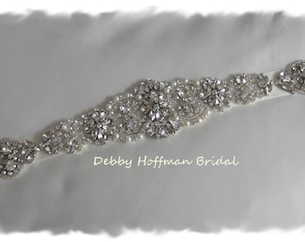 "Rhinestone Crystal Pearl Bridal Sash, 15"" Rhinestone Wedding Dress Belt, Pearl Jeweled Wedding Sash, Pearl Bridal Belt, No. 4060S4066-15"