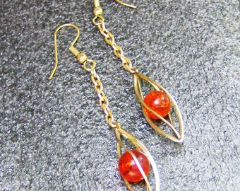 Vintage Cage Dangle Hoop Earrings - 1940's Red Crackle Beads in Vintage Cages by JewelryArtistry - E526
