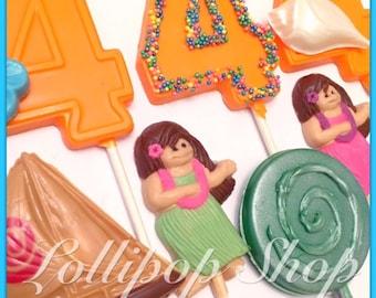 12 Moana lollipops (Birthday, Moana party favors, Hawaiian luau party favors)