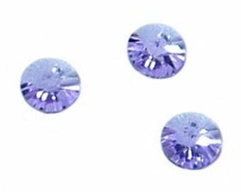 6pc - 6mm Swarovski Crystal Violet Round Rivoli Disk Charm Pendants Style 6200