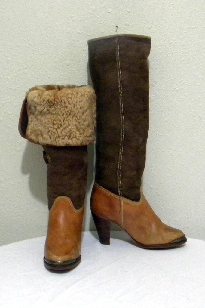 Bottes vintage. Bottes femmes, Sz 7 b Vintage haut haut haut deux ton cuir et daim talon haut de haute qualité pour femme bottes de marche b124a4