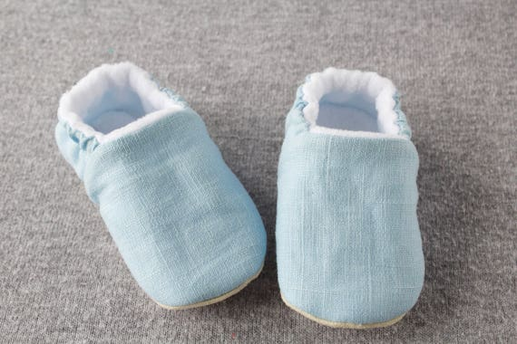 Baby blue linen baby moccs unisex. for pre walkers and toddlers