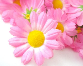 12 Pink Gerbera Daisy Heads - Artificial Silk Flower - 1.75 inches - Wholesale Lot - for Bridal Wedding work, Make Hair clips, hats