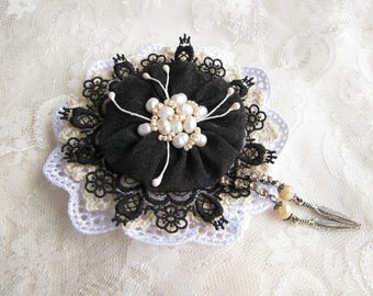 Pearl brooch Black White brooch Flower brooch Brooch pin Large brooch Boho Brooch Black Lace brooch Mother gift for her Feather brooch
