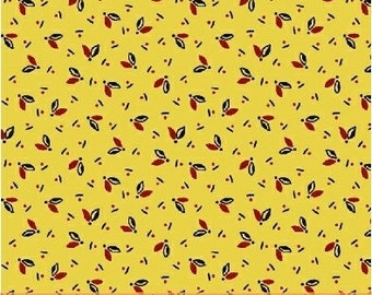 Windham Vine in Yellow with Black Red Floral Accents Civil War Reproduction 42292-9 Fabric BTY