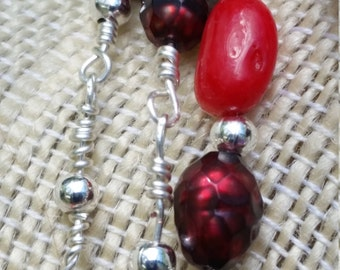 Seedy Beads - coral and cultured pearl long, layerable necklace