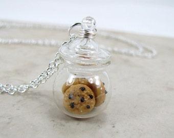 Chocolate Chip Cookie Jar Necklace Miniature Food Jewelry