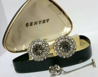 Vintage three piece rhinestone cufflinks and tie tack set by Gentry