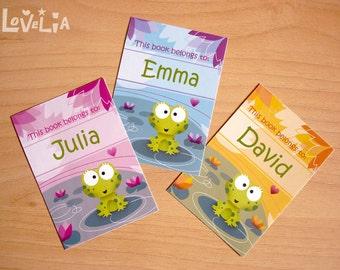 """Personalized Bookplates Stickers """"Phine The Frog""""  set of 9"""