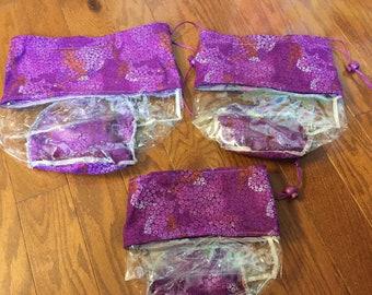 Toy Storage Bag Set of 3, Purple Storage Bags, Toy Storage Bag, Toy Bag, Girls Room Decor, Toy Organization, Accessory Bag