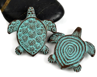 Spiral Turtle Pendant - 30mm Green Patina - Double Sided Pendant - Mykonos Beads