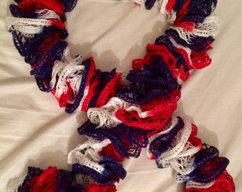 Hand-Knit Patriotic Sashay Scarf (Red, White & Blue)