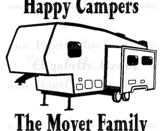 Personalized 5th Wheel Fifth Camper Camping Vinyl Decal Sticker  - You Personalize with Name & Color