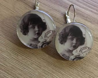 "Silver earrings ""postcard"" substrate"