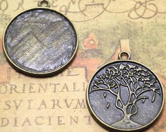 6pcs bronze Tone round Life Tree Glass Cabochon settings inner size 30mm charm pendants glass dome ASD1678