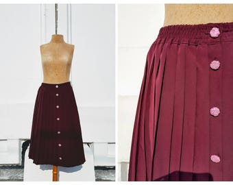 vintage chiffon skirt, burgundy skirt, Red skirt, red pleated skirt, pleated chiffon skirt,  pleated midi skirt
