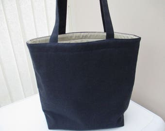 Tote bag/market bag/shopper/everyday work tote/ navy canvas bag. Canvas tote. Student tote.