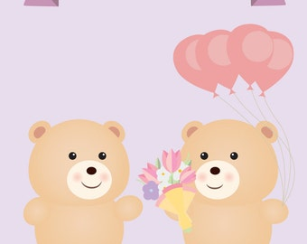 Lesbian Teddy bear couple - Lesbian Birthday card - Same sex birthday card - lesbian birthday gift - lesbian girlfriend gift