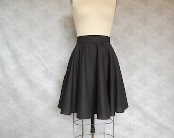 Black Circle Skirt - Full, Swing Dancing, High Waisted, Knee Length, Cotton, Twirly?