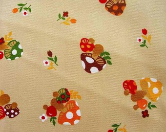 Japanese Fabric Colorful Mushlooms and Flowers Beige  half yard