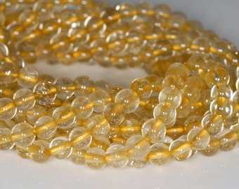 5mm Gold Rutilated Quartz Gemstone Clear Round Loose Beads 15.5 inch Full Strand (80001195-174)
