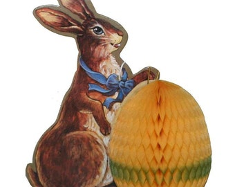 Vintage Easter Honeycomb Table Decoration ~ Bunny With Egg  CDH 01